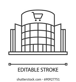 Shopping centre linear icon. Mall building. Thin line illustration. Supermarket contour symbol. Vector isolated outline drawing. Editable stroke