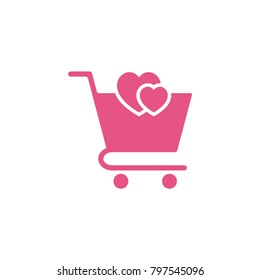 shopping chart icon in trendy flat style, heart in trolley conception, trolley symbol