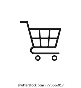 shopping chart in trendy flat style, shopping chart vector icon, trolley symbol