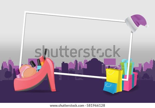 Shopping Cities Violet Background Design Vector