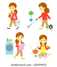 shopping / cleaning / washing / cooking