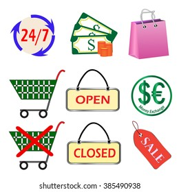 Shopping, colored market icons