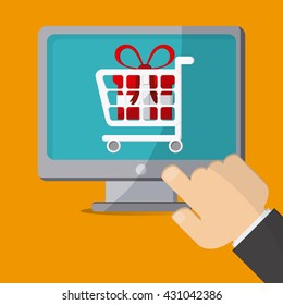 Shopping with computer design, Vector illustration