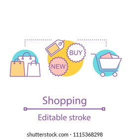 Shopping concept icon. Doing purchases idea thin line illustration. Store. Merchandise. Vector isolated outline drawing. Editable stroke