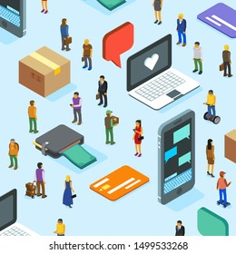 Shopping concept with people in isometric view - vector