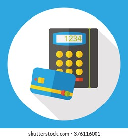Shopping credit card machine flat icon