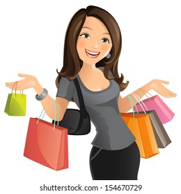 513af311d84 Woman With Purse Happy Stock Vectors, Images & Vector Art | Shutterstock