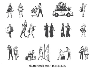 Shopping day, people making purchases concept sketch. Hand drawn isolated vector