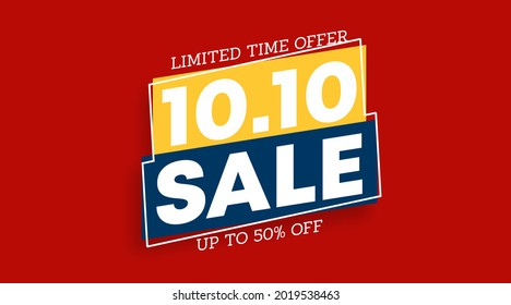 Shopping day sale. 10.10 Day sale flyer and web banner background illustration