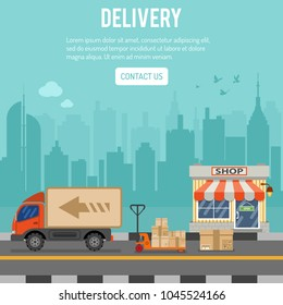 Shopping and Delivery concept with flat Icons Set for e-commerce marketing and advertising with shop, delivery, truck and cityline. Vector illustration
