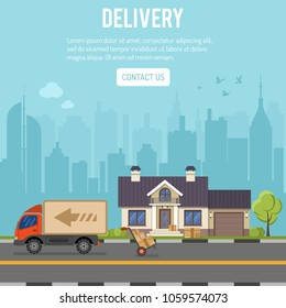 Shopping and Delivery concept with flat Icons Set for e-commerce marketing and advertising with house, delivery, truck and cityline. Vector illustration