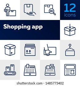 Shopping and delivery icons. Set of line icons. Cash register, conveyor belt, cardboard box. Logistics concept. Vector illustration can be used for topics like shipping, transportation, business