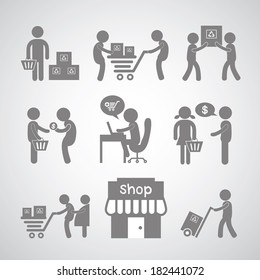 shopping and delivery on gray background