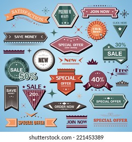 Shopping Design Elements, Stickers And Labels In Retro And Vintage Style, Premium Quality And Satisfaction Guaranteed - Isolated On Background. Vector Illustration, Graphic Design