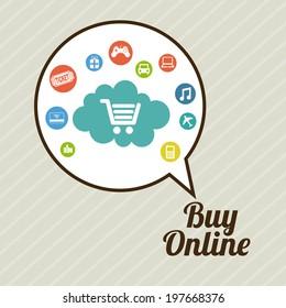 Shopping design over beige background, vector illustration