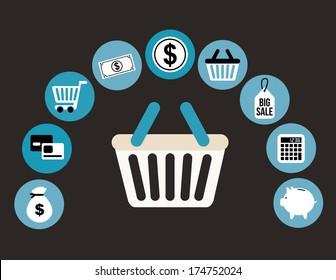 shopping design over black  background vector illustration