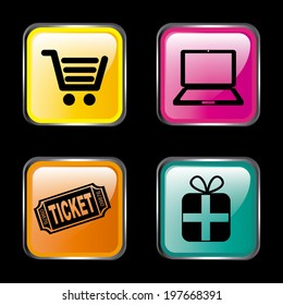 Shopping design over black background, vector illustration