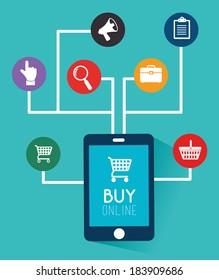 Shopping design over blue background, vector illustration