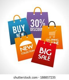 Shopping design over gray background, vector illustration