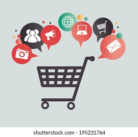 Shopping design over gray background, vector illustration