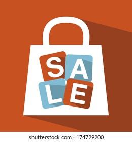 shopping design over  orange background vector illustration