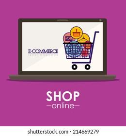 Shopping design over purple background, vector illustration