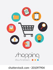 Shopping design over white background, vector illustration