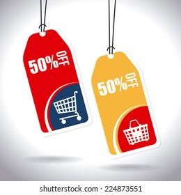 Shopping design over white background, vector illustration