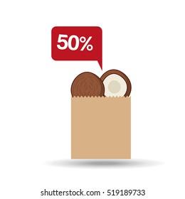 shopping discount coconut fruit icon design vector illustration eps 10