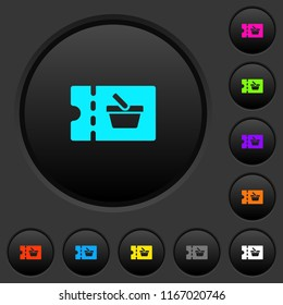 shopping discount coupon dark push buttons with vivid color icons on dark grey background