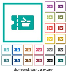 shopping discount coupon flat color icons with quadrant frames on white background