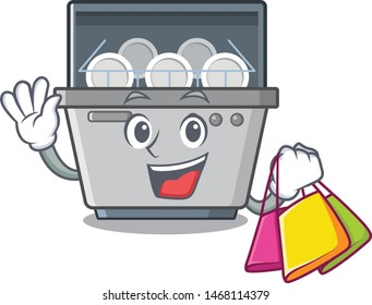 Shopping dishwasher machine isolated in the cartoon