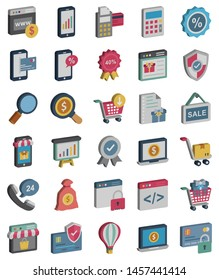 Shopping and E Commerce Isolated Vector Icons Set which can easily modify or edit