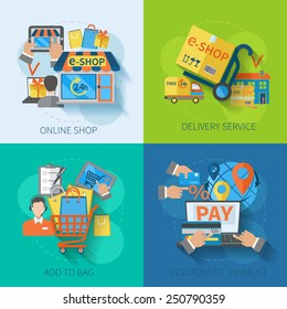 Shopping e-commerce concept design set with online delivery service convenient payment flat icons isolated vector illustration