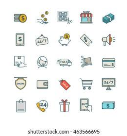 Shopping, E-commerce icons.set
