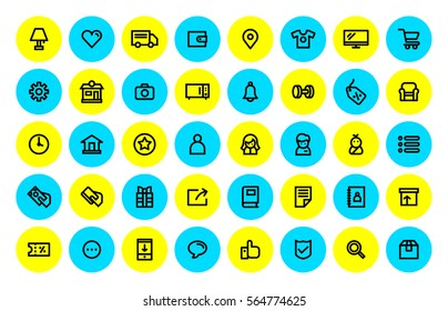 Shopping and Ecommerce icons set, thin line.