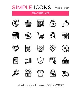 Shopping, e-commerce, online store, ecommerce vector thin line icons set. 32x32 px. Modern line graphic design for website, web design, mobile app, infographic. Pixel perfect vector outline icons set