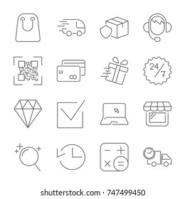 Shopping and e-commerce pack. Line icons set. Universal web icon to use in web and mobile UI, set of basic UI web elements. Editable Stroke