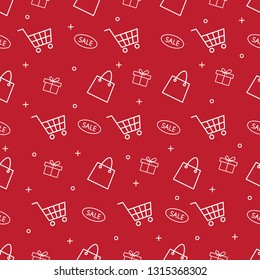 shopping e-commerse seamless pattern with thin line icons on red background