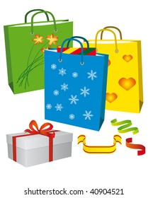 Shopping for a family holiday. Vector illustration