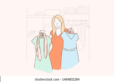 Shopping, fashion, dress, clothes concept. A young girl chooses, measures, sells or buys fashion dresses at a clothing store or home. Vector flat design.