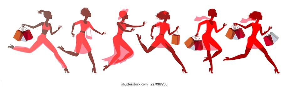 Shopping. Fashion fever. Vector illustration. Isolated on white background. Set