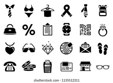shopping fashion icons set. Universal icons to be used in web and mobile UI, fashion basic UI elements set