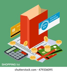 Shopping flat isometric vector illustration