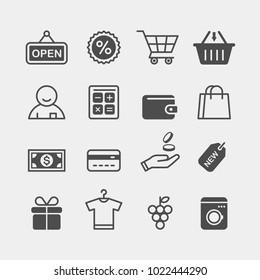 Shopping flat vector icons set. Shopping spree flat vector icons set. In a store flat vector icons set.
