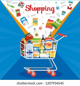 Shopping Food Products on Sale Flat Vector Concept with Groceries Falling in Supermarket Cart or Trolley Illustration in Blue Background. Big Sale and Discounts in Grocery. Best Price for Groceries
