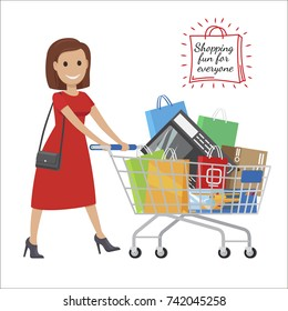 Shopping fun for everyone. Woman in red dress smiles and roll shopping bags and boxes in cart on white background. Have good time during the shopping vector illustration.