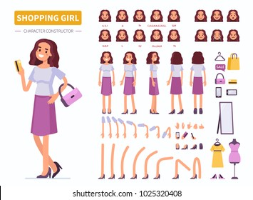Shopping girl character constructor for animation. Front, side and back view. Flat  cartoon style vector illustration isolated on white background.