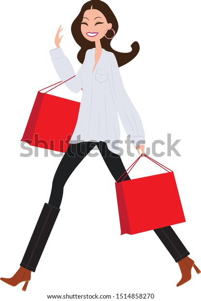 Shopping girl. flat design vector illustration. Woman walking with shopping bags.