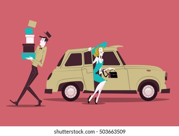 Shopping girl with taxi - illustration
